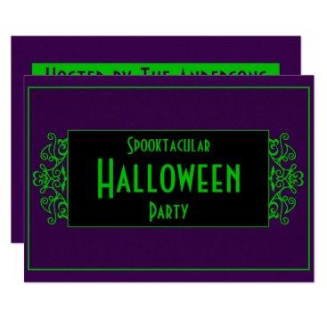 Halloween Themed Purple & Green Neon Card