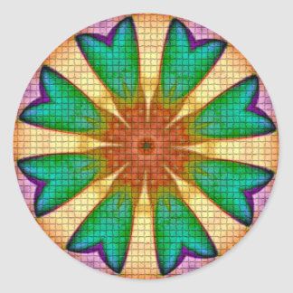Purple Green Orange Flower Mandala Classic Round Sticker