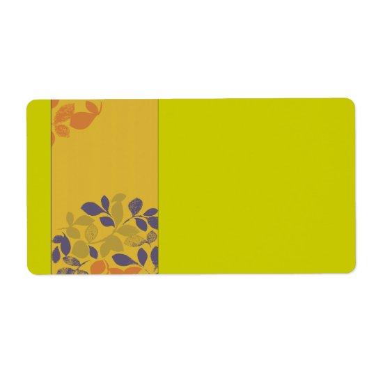 Purple Green Orange Leaves Label