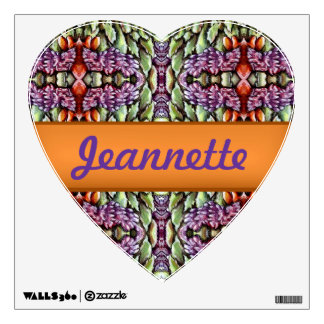 purple green orange leaves pattern heart decal