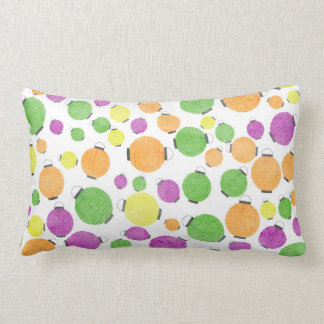 PURPLE GREEN ORANGE YELLOW CHINESE LANTERNS POLKAD LUMBAR PILLOW