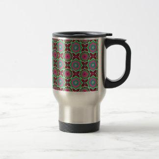Purple green oriental pattern travel mug