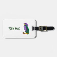 Purple Green Parrot Bag Tag at Zazzle