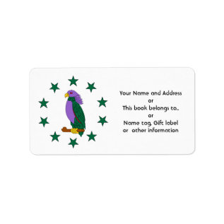 Purple Green Parrot Label at Zazzle