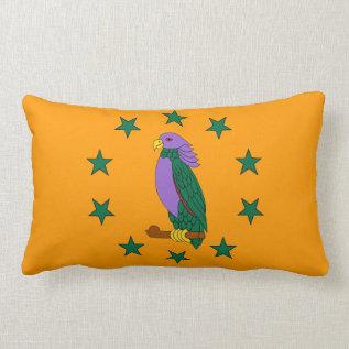 Purple Green Parrot Lumbar Pillow at Zazzle