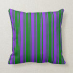[ Thumbnail: Purple & Green Pattern Throw Pillow ]