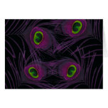 Purple & Green Peacock Feather Collage Greeting Card