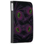 Purple & Green Peacock Feather Collage Kindle 3 Cases