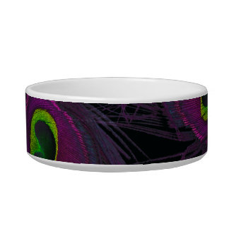 Purple & Green Peacock Feather Collage Cat Bowls