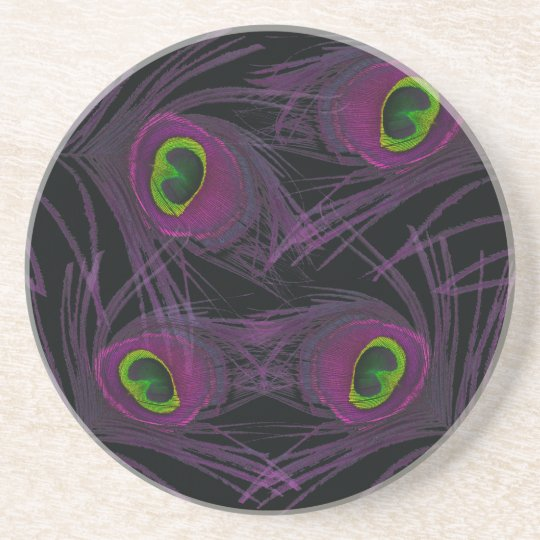 Purple & Green Peacock Feather Collage Coaster