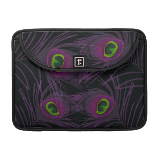 Purple & Green Peacock Feather Collage Sleeve For MacBook Pro