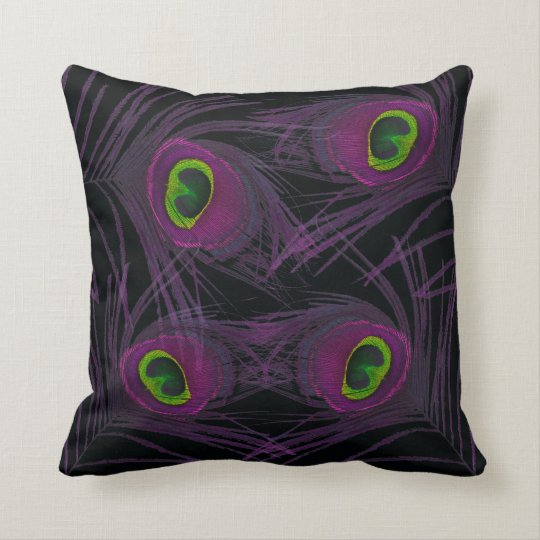 Purple & Green Peacock Feather Collage Throw Pillow