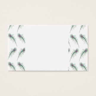 Purple Green Peacock Feather Print Business Card