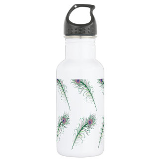 Purple Green Peacock Feather Print Water Bottle