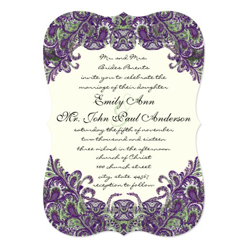 Purple & Green Peacock Ivory Wedding Invitations
