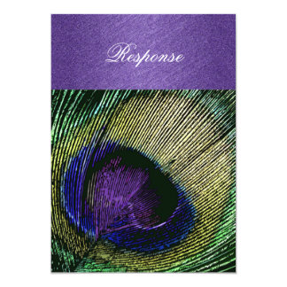 Purple green peacock wedding card