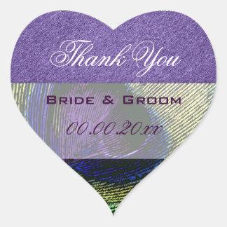 Purple green peacock wedding engagement heart sticker