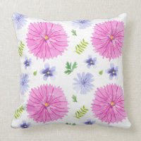 Purple Green Pink Watercolor Flowers Throw Pillow