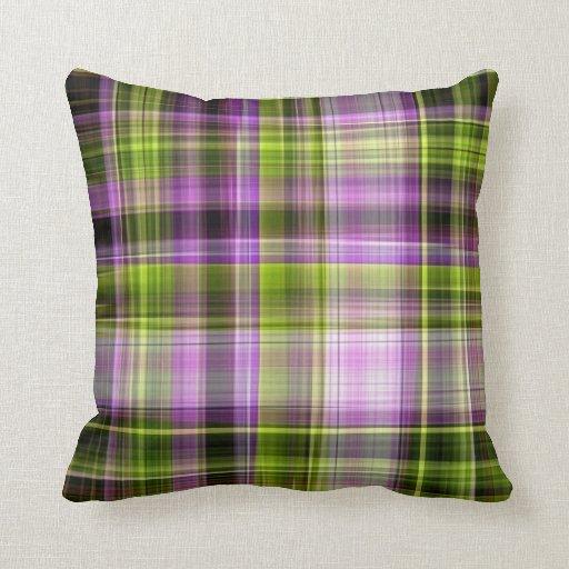 purple green plaid pillow