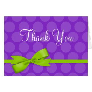 Purple Green Polka Dot Printed Bow Thank You Card