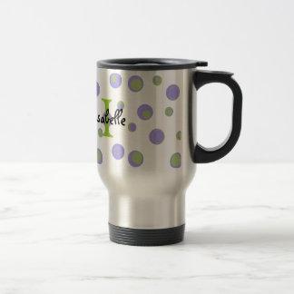 Purple Green Polka Dots Monogrammed 15 Oz Stainless Steel Travel Mug