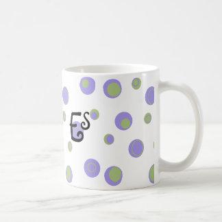 Purple Green Polka Dots Monogrammed Coffee Mug