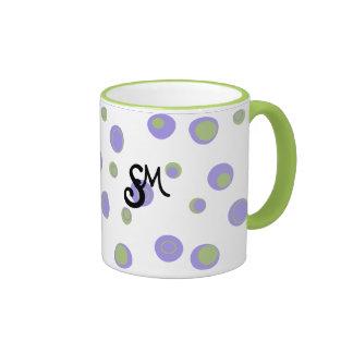 Purple Green Polka Dots Monogrammed Coffee Mugs