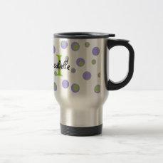 Purple Green Polka Dots Monogrammed Travel Mug