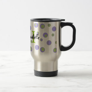 Purple Green Polka Dots Monogrammed Travel Mug