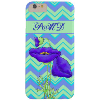 Purple Green Poppy Chevron Zigzag Name Monogram Barely There iPhone 6 Plus Case