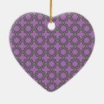Purple & Green Quatrefoil French Classic Geometric Ceramic Ornament