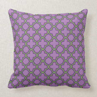 Purple & Green Quatrefoil French Classic Geometric Throw Pillow