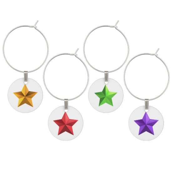 Purple, Green, Red, Gold Christmas Star Wine Chams Wine Glass Charm