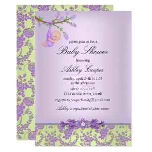 Purple Green Rose Garden Baby Shower Invitation