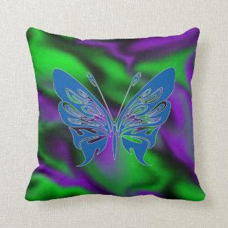 purple green satin-blue butterfly throw pillow