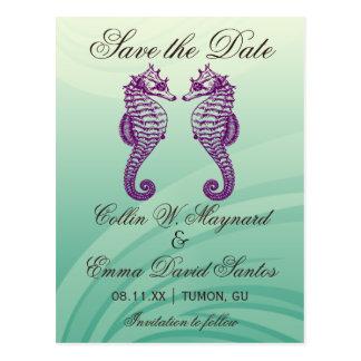 Purple & Green Seahorse Save the Date Postcard