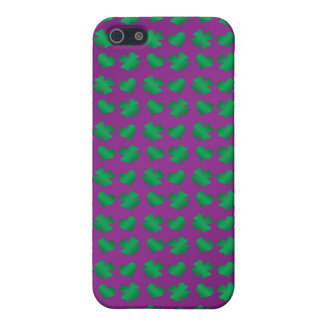 Purple green shamrocks and hearts cover for iPhone SE/5/5s