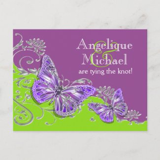 Purple green silver wedding engagement postcard