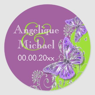 Purple green silver wedding engagement stickers