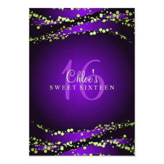 Purple & Green Stardust | Sweet 16 Invitation