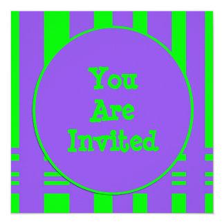 purple green stripe party card
