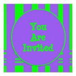 purple green stripe party invitations