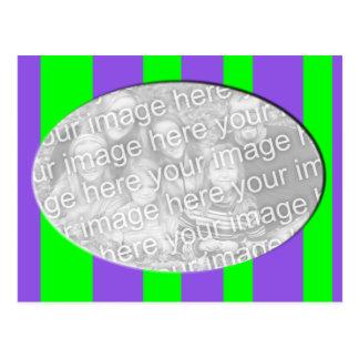 purple green striped photo frame postcard