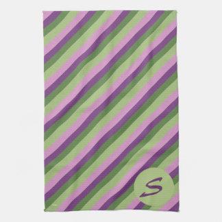 Purple Green Stripes Pattern Monogram Kitchen Hand Towels