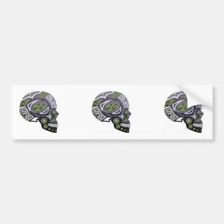Purple Green Sugar Skull Skeleton Bumper Sticker
