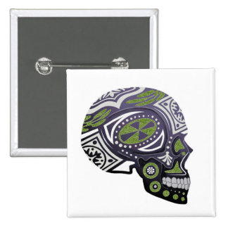 Purple Green Sugar Skull Skeleton Button