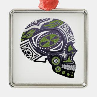 Purple Green Sugar Skull Skeleton Metal Ornament
