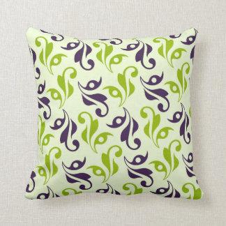 Purple & Green Swirl Flourish Throw Pillow
