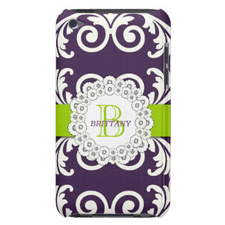 Purple Green Swirls Floral iPOD Case Barely There iPod Case