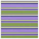 [ Thumbnail: Purple, Green, Tan & Midnight Blue Lines Fabric ]